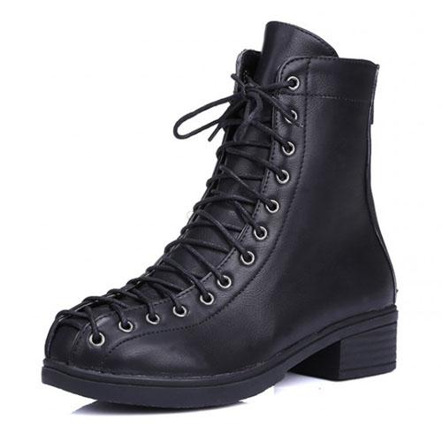 Primavera Outono moda rodada toe lace-up chunky meio calcanhar PU preto tornozelo martens botas