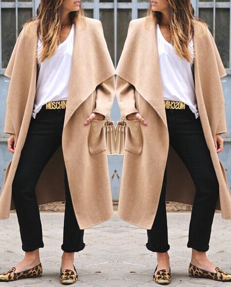 Fashion Turndown Collar Long Sleeves Khaki Long Wool Trench Coat