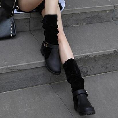 Primavera otoño redondo dedo del pie plano medio talón negro PU deslizamiento en mediados de becerro botas cavalier hebilla