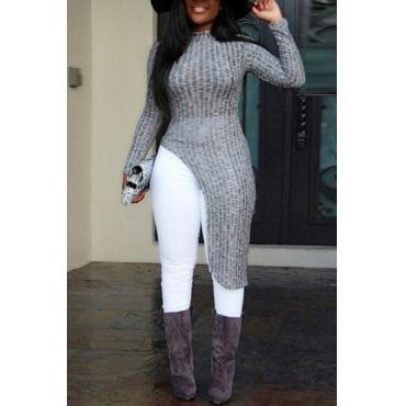 мода O шеи длинные рукава серый хлопок смеси пуловеры