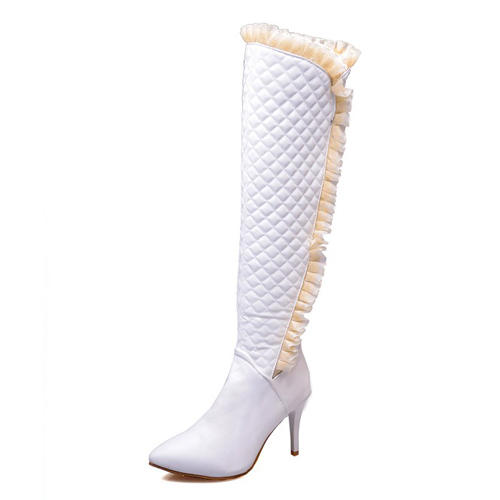 winter fashion pointed toe stiletto high heel white pu