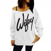 Casual Long Sleeves Letters Print White Cotton Blend Regular Pullover Sweat