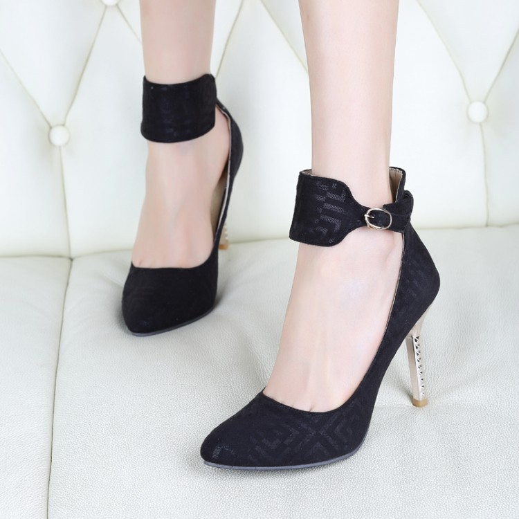 Fashion Pointed Closed Toe Stiletto Super High Heel Black PU Ankle Strap Pumps