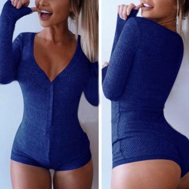 Sexy manga larga mangas largas de algodón azul sólido mezcla mono flaco