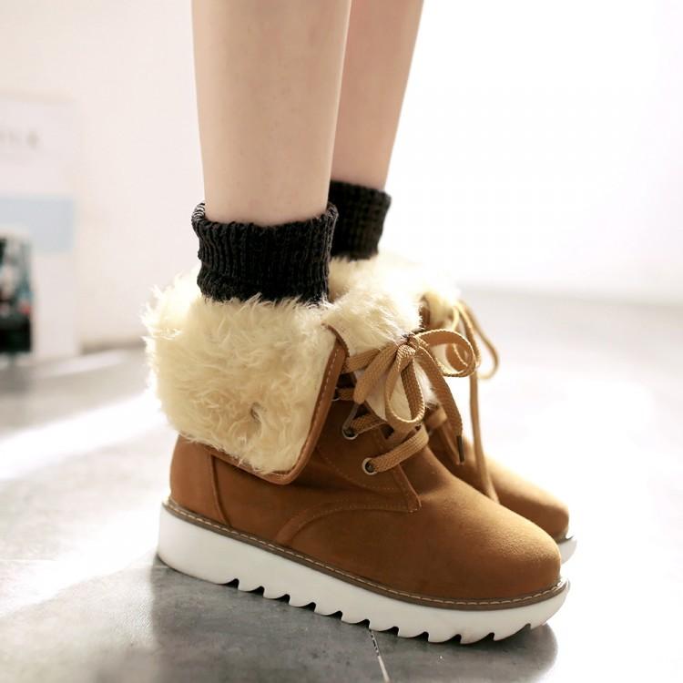 winter fashion toe lace up flat low heel brown pu