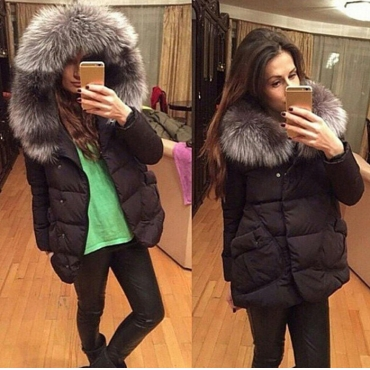 Fashion Fur Collar Zipper Design Black Regular Parka