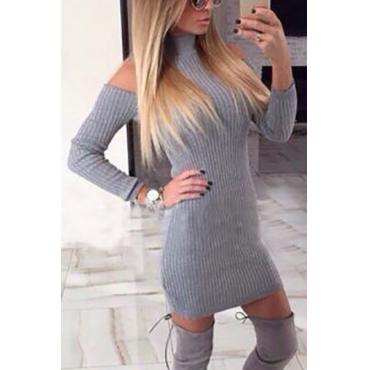 Fashion Turtleneck Off the Shoulder Long Sleeves Grey Polyester Sheath Mini Womens Dresses