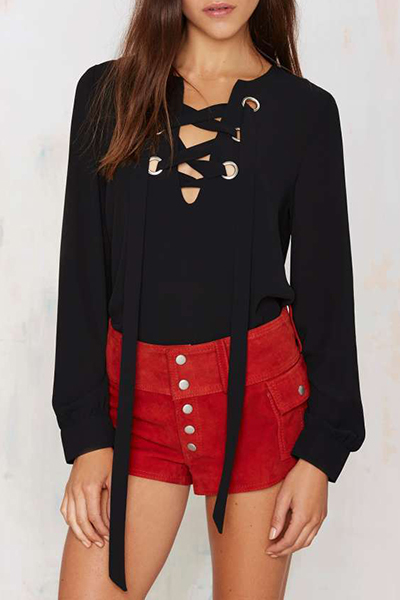 Fashion V Neck Long Sleeves Front Lace-up Solid Black T-shirt