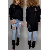 Fashion O Neck Long Sleeves Broken Holes Design Asymmetrical Black Acrylic Regular Pullover Sweater