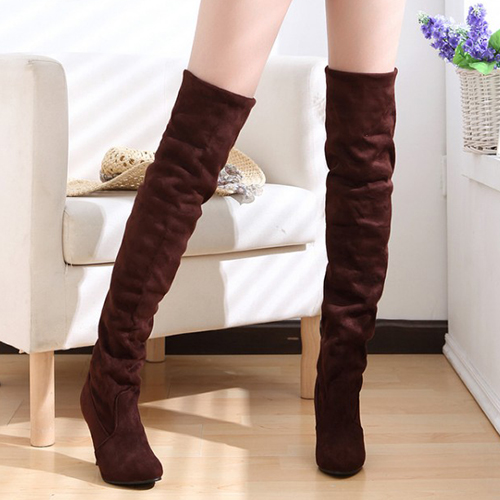 Inverno moda rodada toe slip em stiletto salto alto camurça marrom sobre o joelho cavalier botas