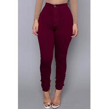 Lässige mittlere Taillen-Reißverschluss-Entwurfs-Wein-Rot-Baumwollmischung dünne Hosen