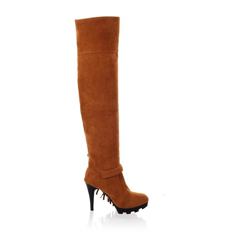 Мода Зима Круглый Носок стилет Супер Высокие каблуки Желтый PU поскользнуться на над коленом прочистки сапоги