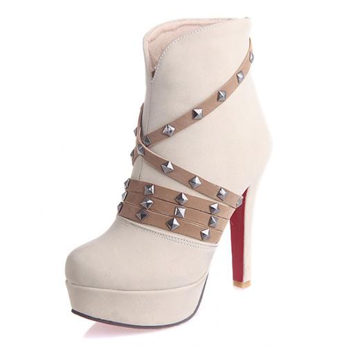 Winter Round Toe Back Zipper Rivet Decorated Stiletto Super High Heel  Beige PU Ankle Martin Boots