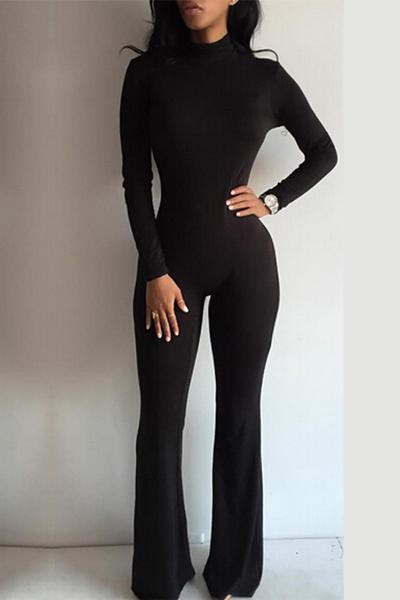 Fashion Turtleneck Long Sleeves Black Cotton Blend One-piece ...