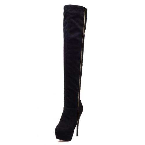 Rodada Moda Inverno Toe Slip On Patchwork Stiletto Super salto alto preto PU sobre o joelho botas Cavalier