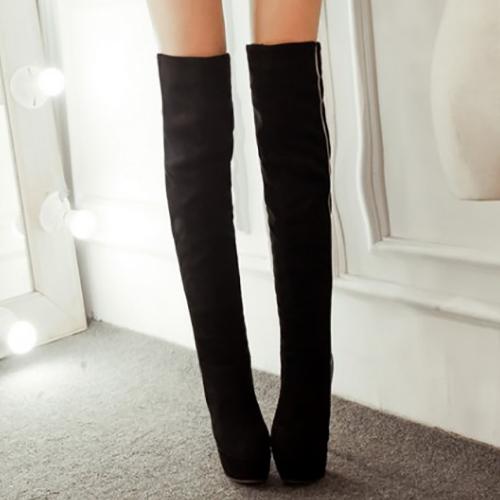 Мода Зима Круглый Носок поскользнуться на Лоскутная Stiletto Супер Высокий каблук черный PU над коленом Cavalier Boots