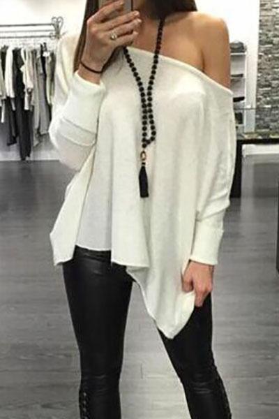 Fashion O Neck Long Sleeve White Cotton Blouse 118