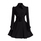 Fashion Turndown Collar Long Sleeves Double-breasted Black Cotton Blend Regular Trench Coat (with Buckle Belt)
