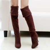 Winter Fashion Round Toe Slip on Stiletto High Heel Brown Suede Over the Knee Cavalier Boots
