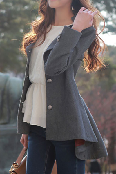 New Style Turndown Collar Long Sleeve Double Breasted Grey Long Wool Coat