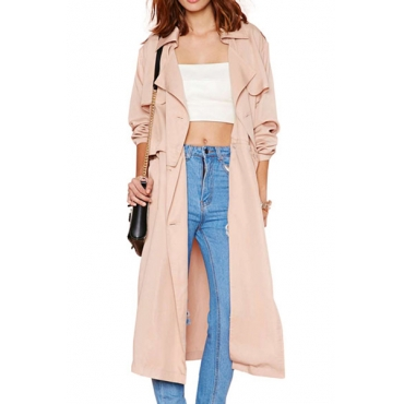 Cheap New Style Turndown Collar Long Sleeves Detachable Beige Polyester X Long Trench Coat