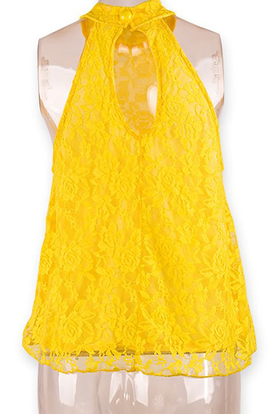 Camisa de laço amarelo sólido barato Sexy sem mangas costas Split