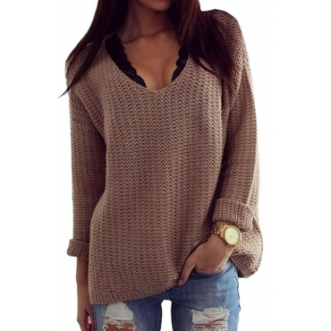 Fashion O Neck Long Sleeves Acrylic Pullover