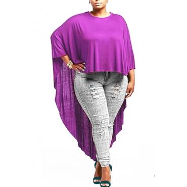 Fashion O Neck Long Sleeves Solid Purple  Knitting T-shirt