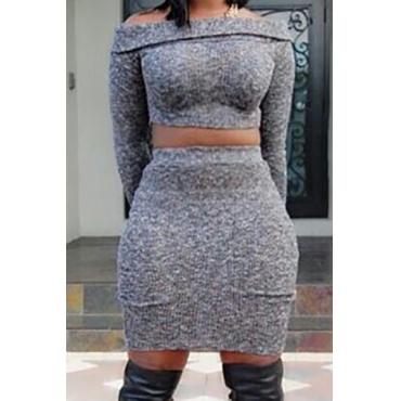 мода Бато шеи длинные рукава серого хлопка смесь из двух частей комплекта юбки