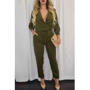 Trendy mit V-Ausschnitt mit langen Ärmeln Feste Armee-Grün Polyester Einteilige Regular Jumpsuit