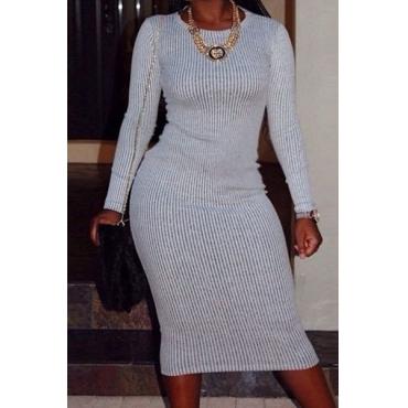 Trendy Round Collar Long Sleeves Grey Polyester Sheath Mini Dress