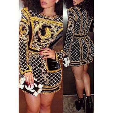 Мода O Шея Длинные рукава полиэстер цифровой печати Оболочка Mini?Платье