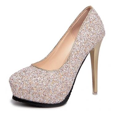 Fashion Round Closed Toe Platform Stiletto Super High Heel Champagne PU Basic Pumps