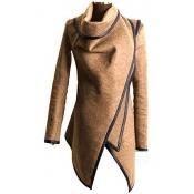 Fashion Turtleneck Long Sleeves Camel Woolen Overcoat