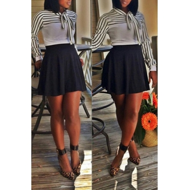 Fashion O Neck Long Sleeves Striped Bow-Tie Decorate White Cotton Blend Pullover