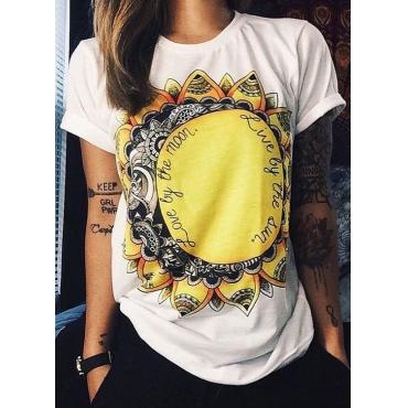 Casual O Neck Short Sleeves Sunflower Print White Cotton Blends T-shirt