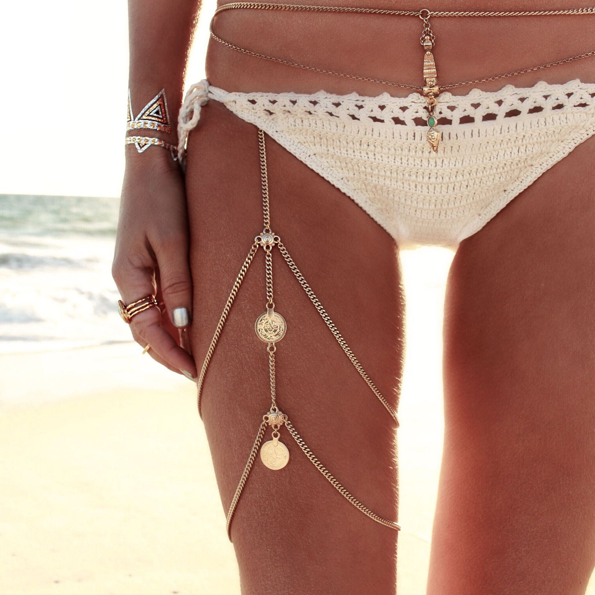 Fashionable Coin-Shaped Tassel Style Gold Metal Body Chain