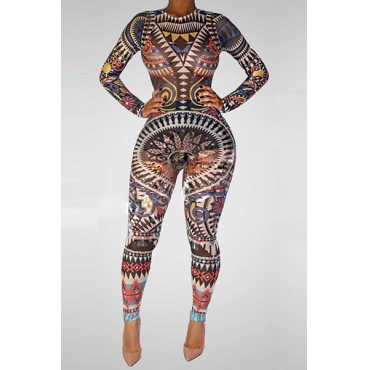 Stylish O Neck Long Sleeves Digital Printing Qmilch One-piece Skinny Jumpsuits