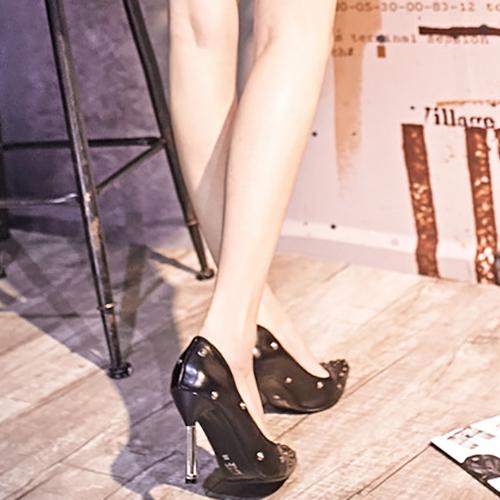 Trendy Pointed Closed Toe Rivet Decoration Stiletto Super High Heel Black PU Basic Pumps