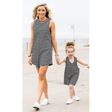 Casual O Neck Tank Sleeveless Black Striped Cotton Blend One-piece Jumpsuits  (Only Children's)