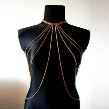 Fashion Multilayer Hollow-out Gold Metal Body Chain