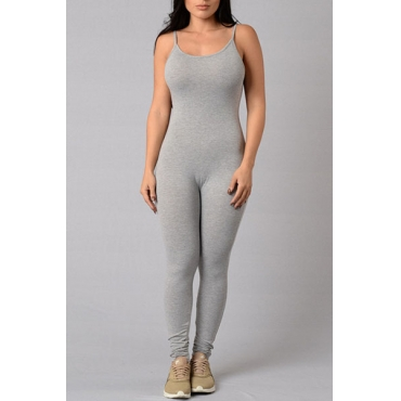 Simple Spaghetti Strap Sleeveless Grey Cotton Blends One-piece Skinny Jumpsuits