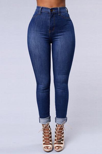 Trendy Mid Waist Button Fly Blue Denim Skinny Pants_Pants ...