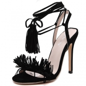 Stylish Lace-up Tassel Design Stiletto Super High Heel Black PU Ankle Strap Sandals