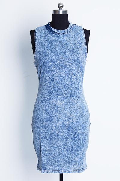 Fashion O Neck Tank Sleeveless Blue Denim Sheath Mini Dress