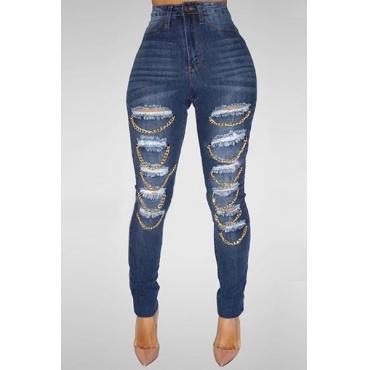 Trendy Mid Waist Broken Holes Metal Decoration Blue Denim Skinny Jeans