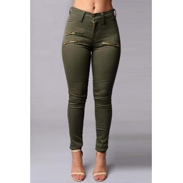 Stylish High Waist Zippered Decorative Green Cotton Blends Skinny Pants