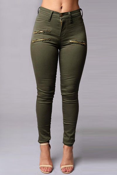 Stylish High Waist Zippered Decorative Green Cotton Blends Skinny Pants