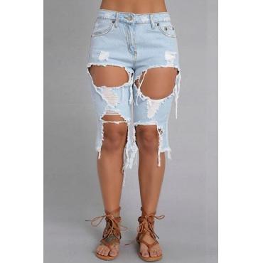 Stylish High Waist Broken Holes Design Blue Denim Shorts