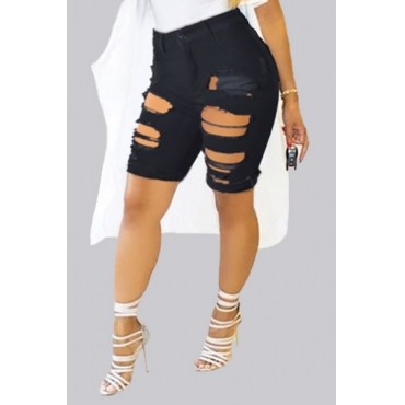 Trendy High Waist Broken Holes Black Skinny Shorts
